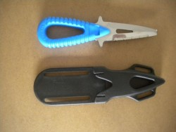 "Microsub Race 2 Blunt Tip w/ Hard Plastic Sheath ""Blue Handle / Stainless Blade"" ***1 ONLY***  - Product Image"