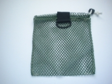 "Mini Drawstring Mesh Bag W/ Black Plastic D-Ring ""Green"" - Product Image"