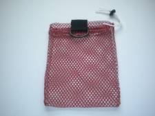 "Mini Drawstring Mesh Bag W/ Black Plastic D-Ring ""Red"" - Product Image"
