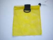 "Mini Drawstring Mesh Bag W/ Black Plastic D-Ring ""Yellow"" - Product Image"