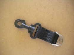 "NEW! Lanyard w/ Dual 1"" Split Rings! ""BLACK- Webbing""  - Product Image"