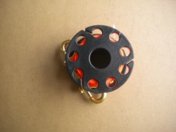 "100' Foot  Finger Spool w/ Line Slots & 4"" inch Brass DE ""Black Body / Orange Line"" - Product Image"