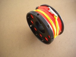 "New! 100ft Anodized Aluminum Flange Edge Finger Spool w/ ORANGE Line & line swivel! ""Black Spool"" - Product Image"