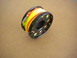 "New! 100ft Anodized Aluminum Flange Edge Finger Spool w/ Yellow Line & line swivel! ""Black Spool"" - Product Image"