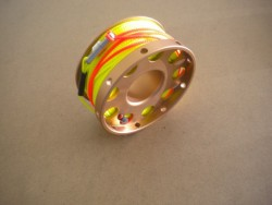 "New! 100ft Anodized Aluminum Flange Edge Finger Spool w/ Yellow Line & line swivel! ""Copper Spool"" - Product Image"