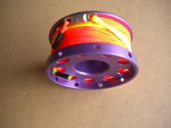"New! 100ft Anodized Aluminum Flange Edge Finger Spool w/ ORANGE Line & line swivel! ""Purple Spool"" - Product Image"