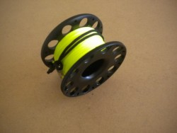 """New! 100ft Anodized BLACK Aluminum W/ FLAT High Viz Neon YELLOW LINE & SS Line Swivel! """"1 Only!"""" - Product Image"""