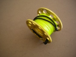 "100ft Anodized GOLD Aluminum W/ FLAT High Viz Neon YELLOW LINE & SS Line Swivel! ""1 Only!"" - Product Image"