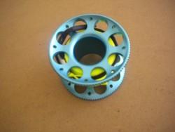 "New! 50ft Anodized AQUA-BLUE Aluminum W/ FLAT High Viz Neon YELLOW LINE & SS Line Swivel! ""1 Only!"" - Product Image"