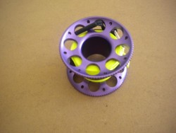 "50ft Anodized PURPLE Aluminum W/ FLAT High Viz Neon YELLOW LINE & SS Line Swivel! ""1 Only!"" - Product Image"