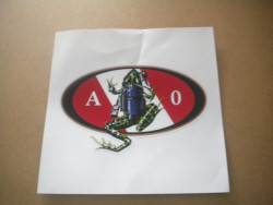 """New! Amphibious Outfitters Die Cut Decals """"Frog w/ Tank on Back Design"""" - Product Image"""