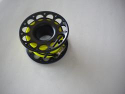 New Color! 100ft Anodized Black Aluminum Body W/ FLAT High Viz Yellow LINE & SS Swivel - Product Image