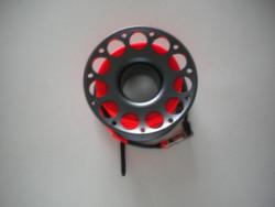New Color! 100ft Anodized Grey Aluminum Body W/ FLAT High Viz Neon ORANGE LINE & SS Swivel - Product Image