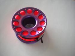 100ft Anodized PURPLE Aluminum W/ FLAT High Viz Neon Orange line & SS Swivel - Product Image
