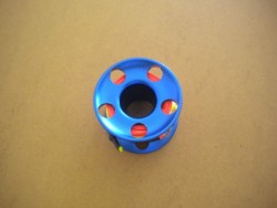 "New! Compact 50ft Anodized BLUE Aluminum W/ FLAT High Viz Neon ORANGE LINE & SS Line Swivel! ""3 LEFT!"" - Product Image"