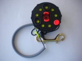 "New! Enclosed Hand Reel 150ft w/Orange Knob  ""Tec Black Spool/Black Housing"" w/ yellow line! - Product Image"