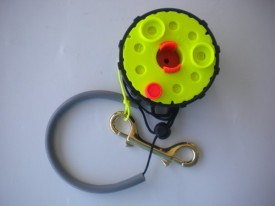 "Enclosed Hand Reel w/Orange Knob  ""Safety Yellow Spool/Black Housing"" w/ yellow line! - Product Image"