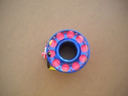 "Gap mini Finger Spool w/ 50 Ft Flat Pink Dive Line & Swivel!! ""Blue Finish""  - Product Image"