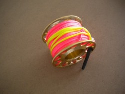 "Gap mini Finger Spool w/ 50 Ft Flat Pink Dive Line & Swivel!! ""Copper Finish""  - Product Image"
