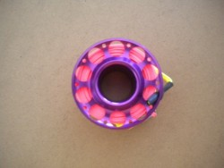"Gap mini Finger Spool w/ 50 Ft Flat Pink Dive Line & Swivel!! ""Purple Finish""  - Product Image"