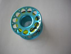 100ft Anodized Aqua-Blue Aluminum Body W/ FLAT High Viz Yellow LINE & SS Swivel - Product Image