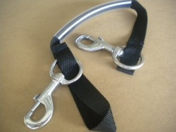 "Piranha Dive Stage Bottle Strap "" Black Webbing w/SS Hardware and Clear Handle"" - Product Image"