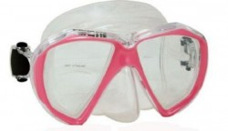 """Piranha Fish Eyes Mask     """" Pink Frame/ Clear Skirt""""    """"Accepts Lenses"""" - Product Image"""