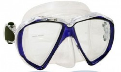 """Piranha Fish Eyes Mask     """" Trans Blue Frame/ Clear Skirt""""    """"Accepts Lenses"""" - Product Image"""