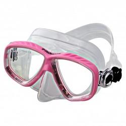 "Piranha Sea Slender Dive Mask     "" Pink Frame / Clear Skirt    ""Accepts Lenses"" - Product Image"