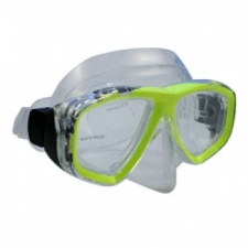 "Piranha Sea Viewer Dive Mask     "" Yellow Frame / Clear Skirt    ""Accepts Lenses"" - Product Image"