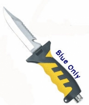 "Pointed Knife with Blue / Black Handle and sheath in ""Black"" - Product Image"