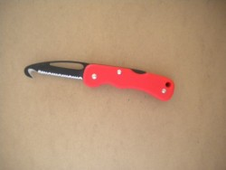 "Rescue Folding Knife "" Red Handle w/ Black Coated Blade"" ""1 Only!"" - Product Image"