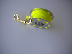 "66ft Stainless Steel Finger Spool w/ Neon Yellow Line & 4"" Brass Clip! - Product Image"
