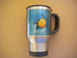 """Stainless Steel Travel Mug Turtle Design """"1 Only!"""" - Product Image"""