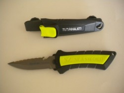 "Titanium Pointed Knife w/ Line Cutter ""Dual Mounting Options!"" - Product Image"