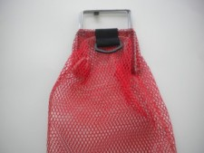 "Wired Handle Mesh Bag   Red w/ Plastic D-Ring 10"" x 16"" - Product Image"