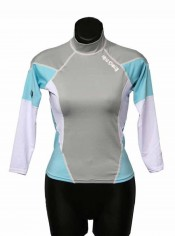 "Womens Long Sleeve Rash Guard ""Light Blue"" - Product Image"